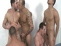 Jordano Santoro and Dean Monroe hot Gang bang scene in the shower