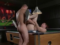 JJ lays back on the pool table and the youngest puts his penis inside