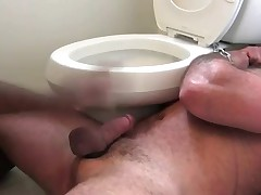 Barrel chest muscle bear Bronson is on the floor, chained to a toilet wearing..