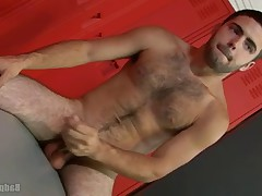 Hairy porn star Josh Long unloads his bulging jockstrap