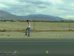 Amden Christianson is hitchhiking in the desert near Las Vegas after his car..