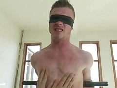 Hot straight stud gets tied up for the first time and cockteased for several..