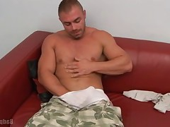 Enrico, who is a beautiful mountain cut muscles working his huge tool in his..