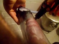 Experience filled with water penis pump