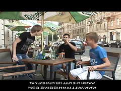 Three guys meet at a restaurant, and then they are raw sex.