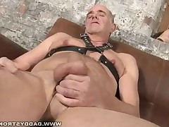 This daddy loves to wear leather belts, when he plays with his rock hard cock,..