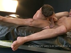 Hung top gets feet worshiped then feed it to the bottom of his huge cock and..