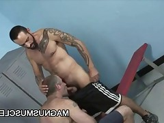 Hairy DILF Christian Volt and Tom Colt having gay sex in the locker room after..