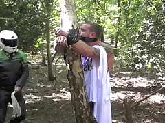 Andy caught spying on girls bikers Forrest. He was caught, tied to a tree and..