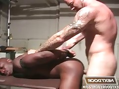 Race driver tied up, tortured, and takes his boss Sam
