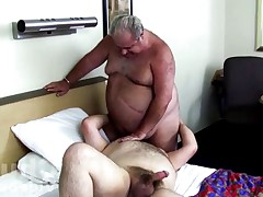 Hairy big *********** with big round belly gets hairy ass serviced bear!