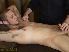 Casey Levi gently rubs all over. Levi's cock slowly wakes getting longer..