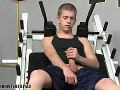 Busted! Kayden Daniels thinks he's all alone in the gym, so he decides to..