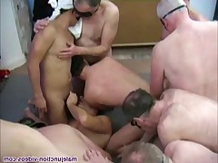 Group of the pope and the youngest in a blindfold group sex session