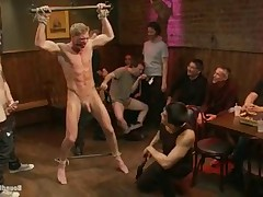 Perfectly healthy blond hunk humiliated in a bar full of strangers as they..