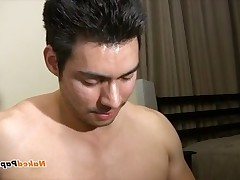 Watch this sexy Latino lover stroke his thick circumcised penis on and shoots..