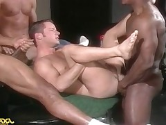 Three studly black men take turns using the hole in Tristian!