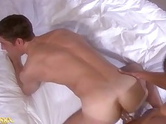 2 men fucks trade while eating ass and stroking / sucking dick