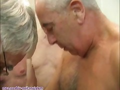 Thre cockuckers with a load of courage from a large group of dads and younger.