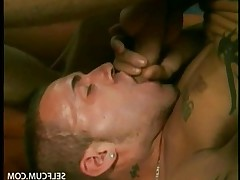 Guy tasting his ten inch cock and cums on the face and mouth