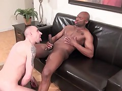 Kriss is on hands and knees sucking and servicing a big fat tool Champ, his..