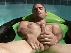 Joe Parker soul floats and jerks his manhood in the pool