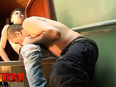Fooling around in the hallway, William and Ramiro going at it. They shed their..