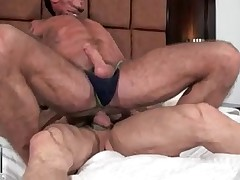 Ray kneels before bouncing rod Matt as he swallows his cock balls deep. Matt..