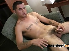 Look, nude naked Papi masturbate. Watch him shoot a big fat load all over..