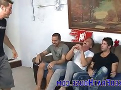 Four Naked Frat House boys are hanging out, drinking ***** and want to try..