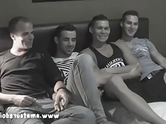 Good looking amateur hunks, Tate, Leon, and Henry will participate in one very..