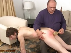 Rich takes a keen young man over his knee and really gives him a bath brush..