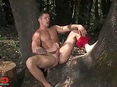 Woodman Trenton busts his nut in the privacy of the forest