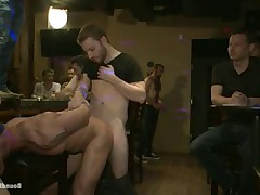 Muscles Studs Mitch Vaughn tied up and used in a public bar.