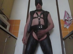 Leather fetish gay cum