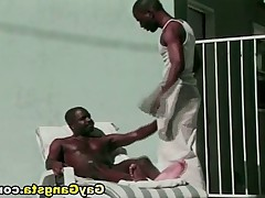 Dirty black gay horny dude to have oral sex by the pool. Big cock in gay tight..
