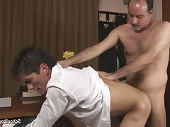 Horny boss make the boy bend over, pull his pants down and shamelessly explore..
