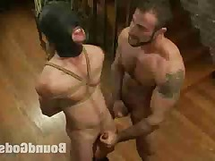 Spencer Reed dominates and fucks Tony Hunter in tight bondage.