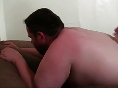 Big sexy daddy bear fucks his hot fat chub bottom bare back in this hot chub..