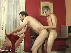 Boy blows his hard shaft which soon came to the rear opening wet older dude
