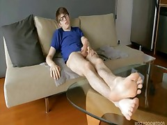 Damien chuckled to himself, reaches down and pulls his smelly white socks with..